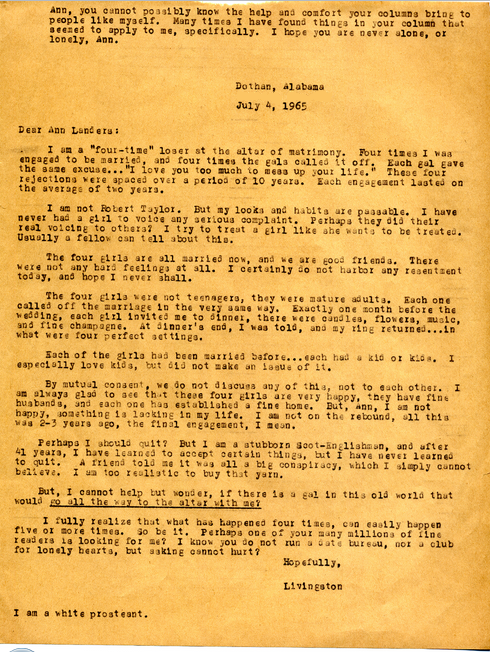 Eddies Letter to Ann Landers